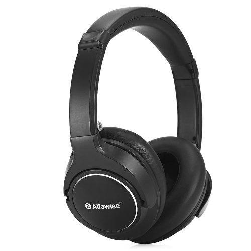 Gearbest Alfawise JH - 803 Folding Stereo Bluetooth Headphones - BLACK Titanium Diagraphm 15h Wireless Music Gaming Headset with Mic Audio Cable