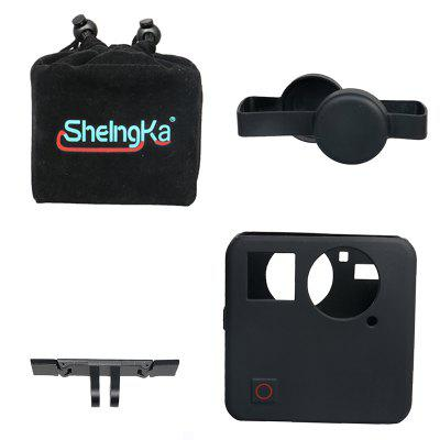 Sheingka 4 in 1 Set Storage Bag + Lens Cover + Silicone Sleeve + Aluminum Alloy Rail for Gopro Fusion Action Camera