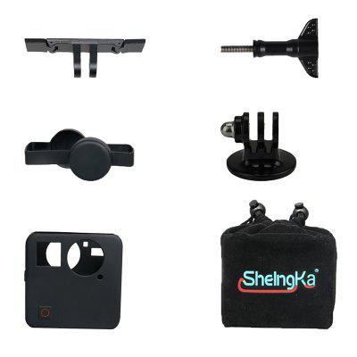 Sheingka 6 in 1 Kit Storage Bag + Lens Cover + Silicone Sleeve + Plastic Rail + Adapter + Aircraft Screw for GoPro Fusion Action Camera