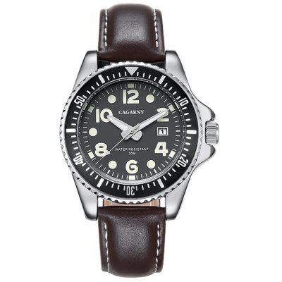 CAGARNY 6863 Leather Calendar Quartz Watch