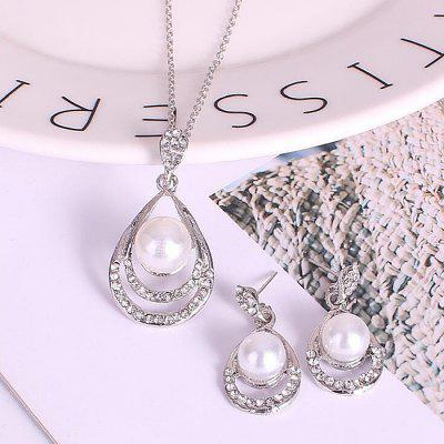 K1016 Bridal Set New Drop Pearl Necklace Earrings Two-piece Jewelry