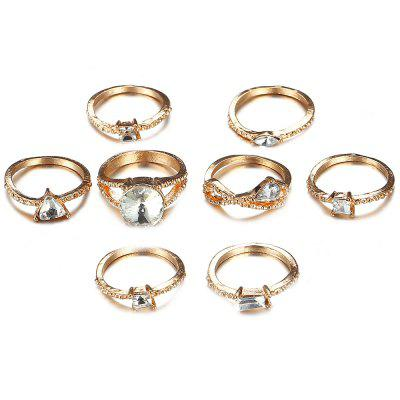 Ring Set Gold-studded Zircon Multi-piece Joint Ring 8 pcs