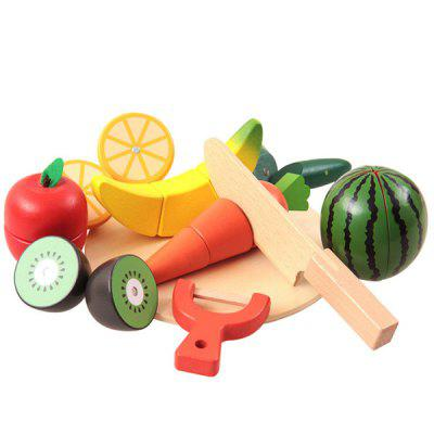 Wooden Cutting Fruits Vegetables Pretend Play Toy Set for Kids