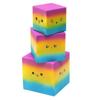 Slow Rebound Square Cake Rainbow Color Cute Soft Squishy Toy Cartoon Gift 1pc