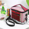 Lunch Bag Insulation Bag Striped Oxford Cloth - RED WINE