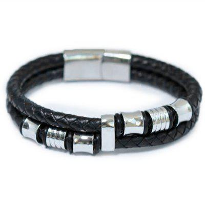 Titanium Steel Woven Leather Stainless Steel Bracelet for Men