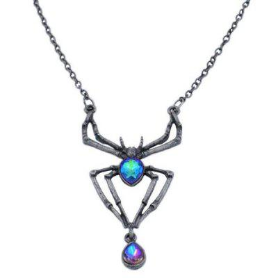 European American Halloween Alloy Jewelry Simple Diamond Spider Necklace Retro Fashion Micro Inlay Zircon Pendant