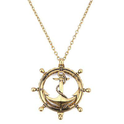 Creative Anchor Hollow Magnifying Glass Necklace Long Retro Personality Pendant