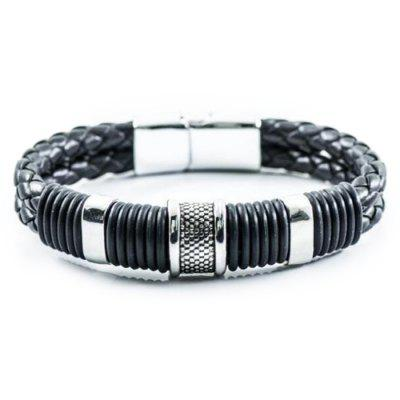 Retro Fashion Personality Double Woven Leather Bracelet Stainless Steel Magnet Buckle Bracelet