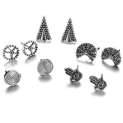 Fan-shaped Triangle Spiral Earring 5 Pairs