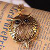 Personality Owl Retro Necklace Magnifying Glass Round Pendant - GOLD