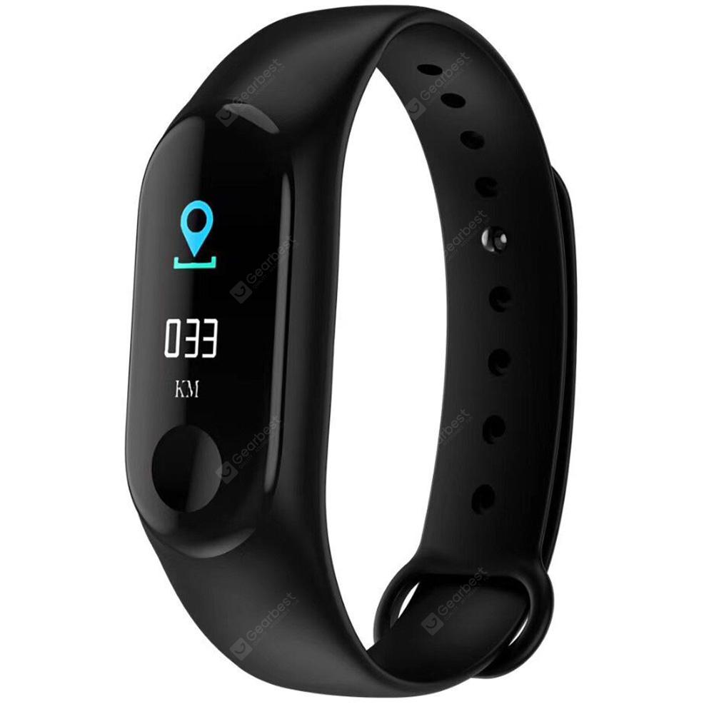 M3 Plus Smart Bracelet 0.96 inch Screen Bluetooth 4.0 Call / Message Reminder Heart Rate Monitor Functions - BLACK