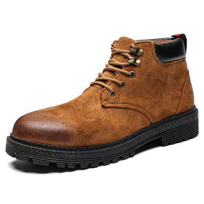 Men Lace-up Boots Solid Color Comfortable Warm Shoes