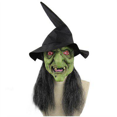Halloween Mask Green Head Gray Hair Witch Horror Mask