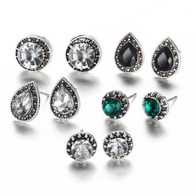 Dazzling Jewel Crystal Bohemian Style Earring 5 Pairs