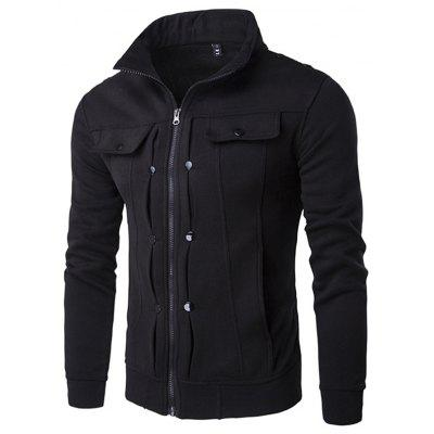 Men Leisure Jacket Comfortable Zipper Stand Collar