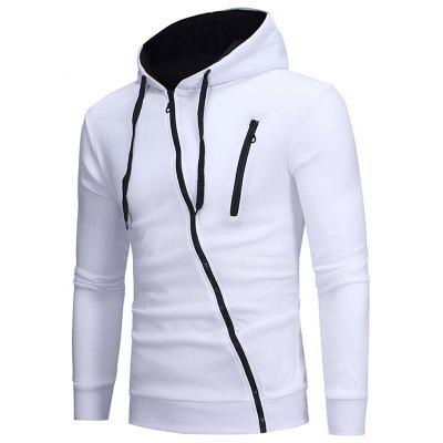 Fashion Oblique Zipper Hooded Hoodies Leisure