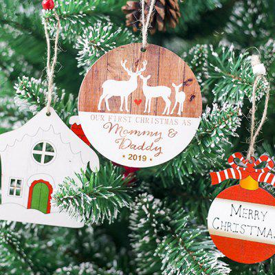 Christmas Decoration Wooden Painted Deer Tag 3PCS