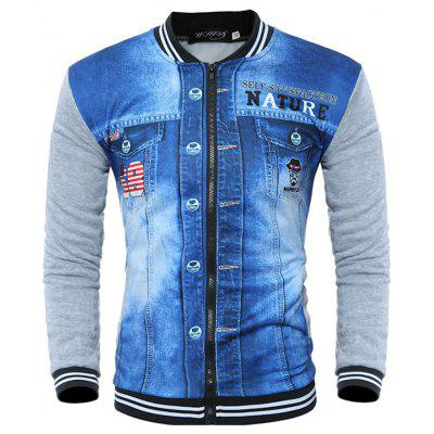 Baseball Collar Print Mode Men  's 3D-Gedrukt lange mouwen Jacket