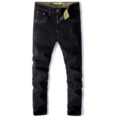 Men's Plus Velvet Jeans Slim Elastic Pants