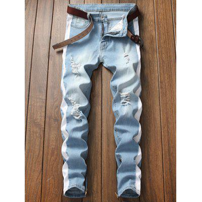 Men Hole Patch Tide Section Slim Feet Jeans