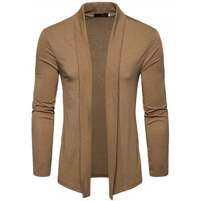 Fashion Men's Basic Long-sleeved Lapel Shawl Shirt Cardigan