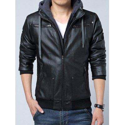Men's Leather Jacket Slim Fit Hooded