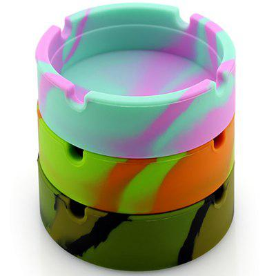 8.3cm Round Silicone Mixed Color Ashtray 3pcs