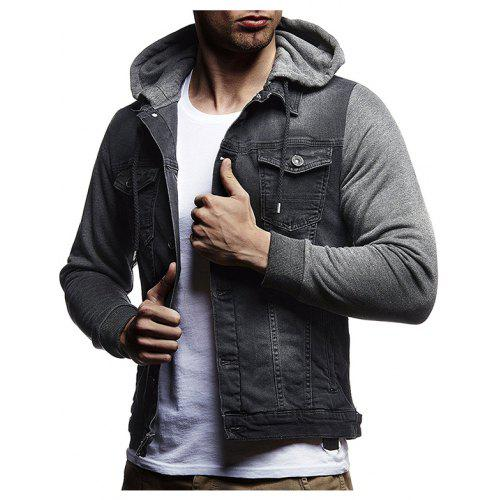 9687f2908f4 Men s Jacket Autumn Winter Knit Hooded Design Casual Denim