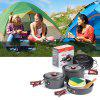 NatureHike Outdoor Camping Pot Cooker Portable Combination Set for 2 - 3 People - GRAY