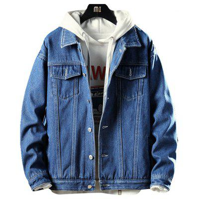 Herren Winter Plus Velvet Thick Denim Jacket