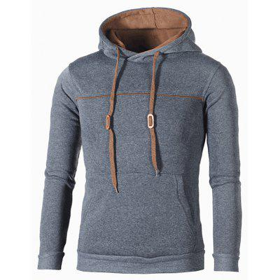 Men Hooded Solid Color Sweatshirt