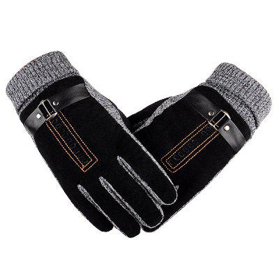 Men Thickened Plush Lining Warm Gloves