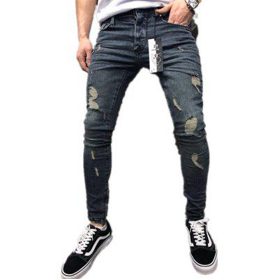 Europe and America Men Hole Jeans Side Zipper Youth Long Pants