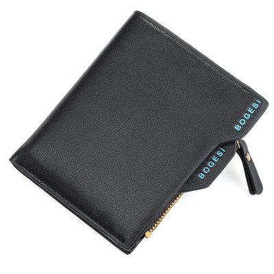 BOGESI Men's Zipper Short Student Wallet Coin Purse