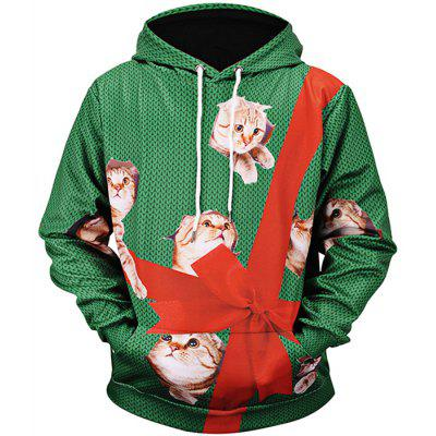 Large Size Christmas Hooded Sweater Autumn And Winter Loose Creative Santa Claus Printing Men And Women With The Hoodie