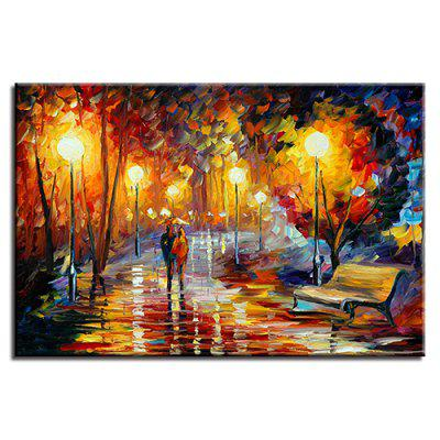Single Rainy Day Walking Under Street Lights Oil Painting Core