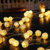 376 Christmas Decorations Solar Light String Rattan Ball Light String Battery Light - WARM WHITE
