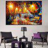 Single Rainy Day Walking Under Street Lights Oil Painting Core - MULTI