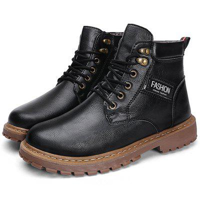 Men Winter Cotton Martin Boots Oxford Tooling Shoes