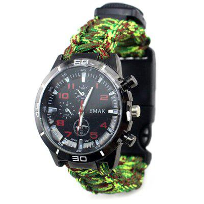 Multifunctional Outdoor Compass Thermometer Fire Stick Survival Watch