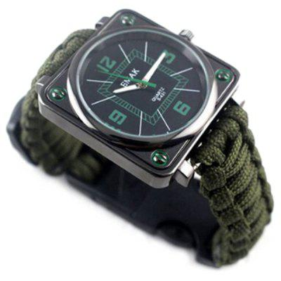 Multi-function EDC Whistle Flintstone Compass Survival Watch