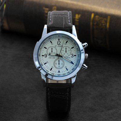 Men Faux Leather Blue Ray Glass Quartz Analog Watches Brown