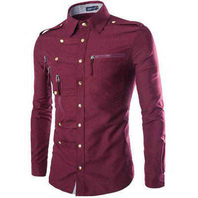 Fashion Lapel Slim Cotton Long Sleeved Shirt