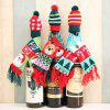 Christmas Wine Bottle Decoration Supplies Knit Scarf Hat Set - RED