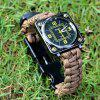 Multi-function EDC Whistle Flintstone Compass Survival Watch - ARMY GREEN