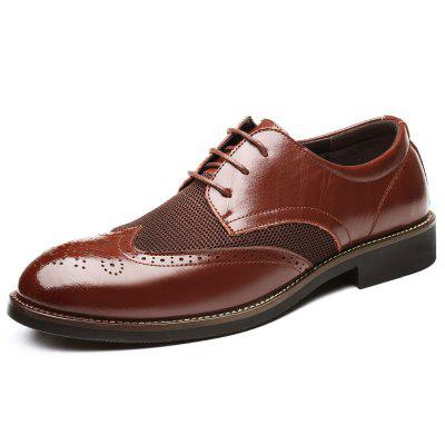 0113 - 2 Men's Shoes Leather Shoes Breathable Carved