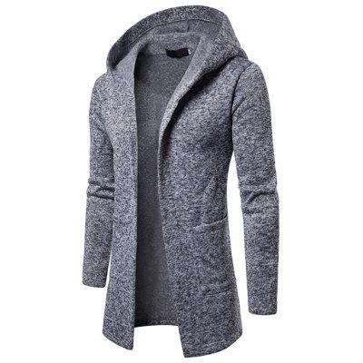 W02 Automne Hommes Long Trench À Capuche Casual Cardigan Tricot Cardigan