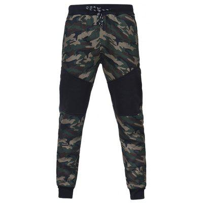 Camouflage Stitching Men Casual Slim Sports Trouser