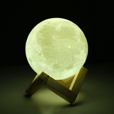 3D Printing Touch Two-color Lunar Light Smart Home Led Moon Light with Solid Wood Bracket